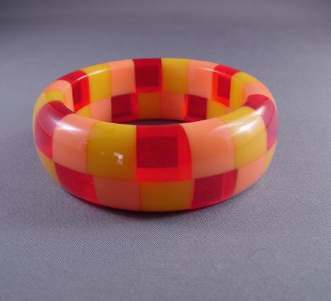 SHULTZ bakelite two row bangle in peach, yellow, red