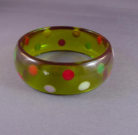 SHULTZ bakelite transparent green bangle with colorful dots