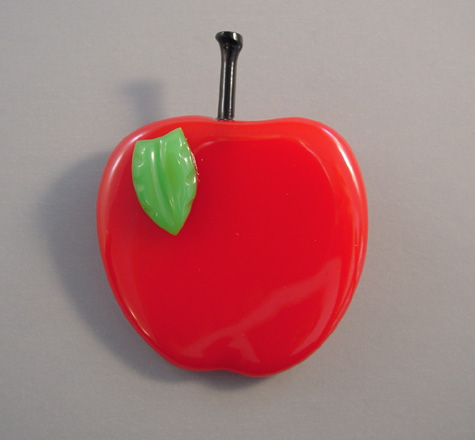 SHULTZ bakelite red and green apple brooch