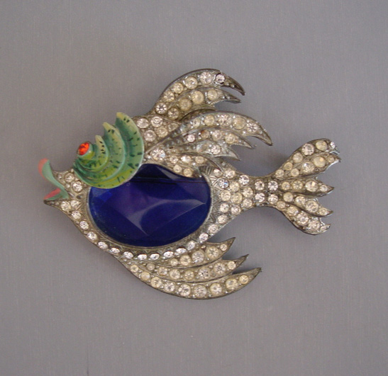 STARET figural fish brooch with a colorfully enameled face