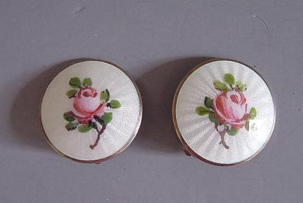 NORWAY enamel sterling pink rose earrings, 1950