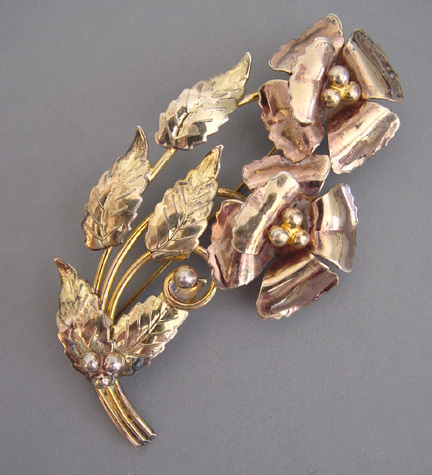 STERLING with gold wash flowers and leaves brooch