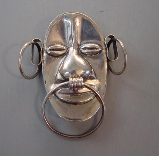 BARRERA sterling Afro-Centric face brooch