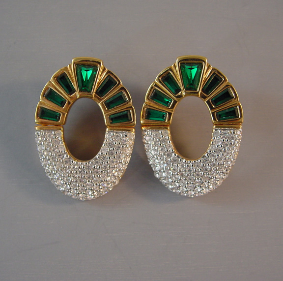 SWAROVSKI green clear rhinestones hinged oval earrings