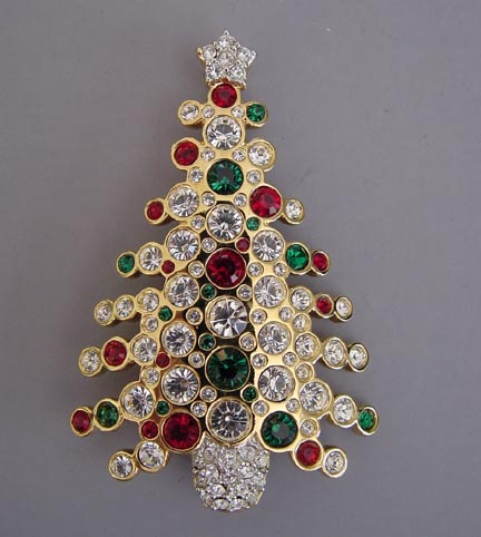 SWAROVSKI Christmas tree brooch of clear, red and green