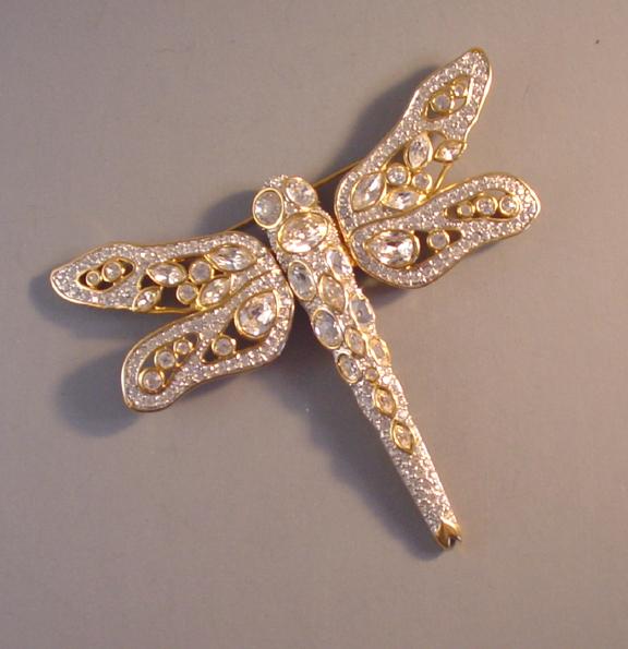 SWAROVSKI clear rhinestone pave crystal dragonfly brooch ...