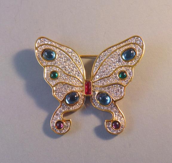 SWAROVSKI SAL crystal pave butterfly brooch with box