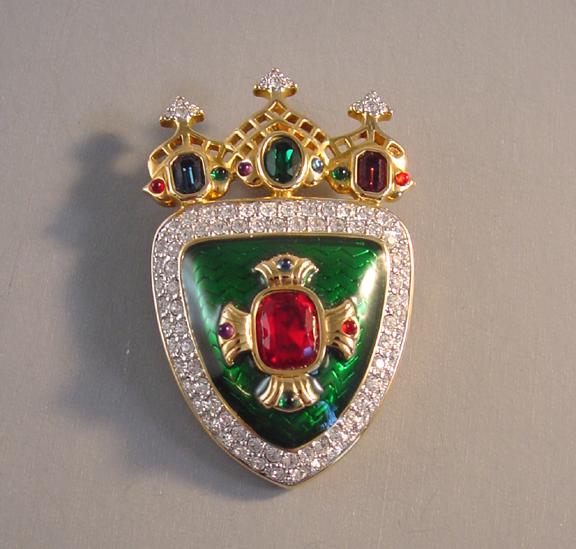 SWAROVSKI green enamel and clear crystal pave heraldic shield brooch