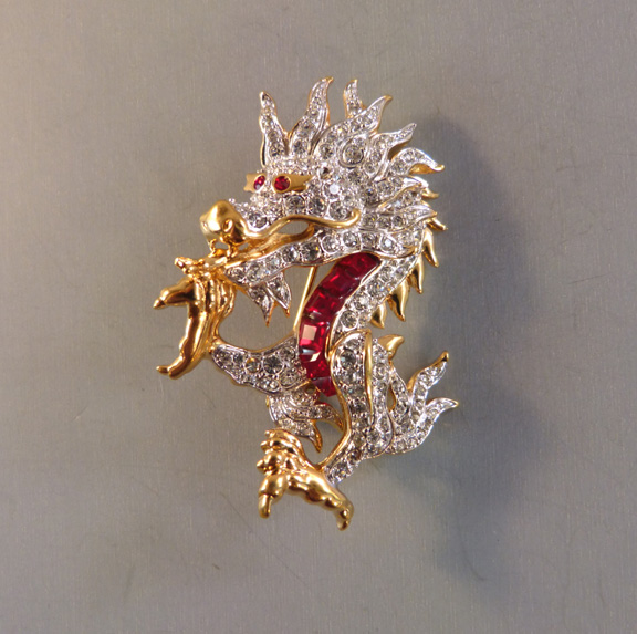 SWAROVSKI brilliant fire-breathing dragon brooch - $98 00 - Morning Glory  Jewelry & Antiques