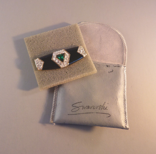 SWAROVSKI SAL black enameled brooch green center rhinestone