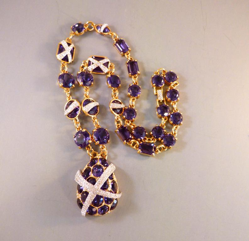 SWAROVSKI Jeweler's Collection purple necklace box pouch ...