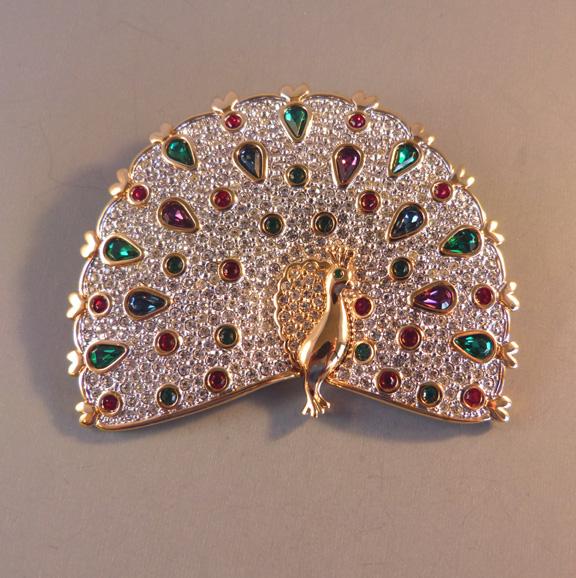 SWAROVSKI peacock brooch with clear brilliant rhinestone pave