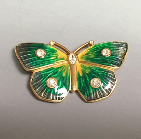SWAROVSKI green, blue, yellow enamel butterfly brooch