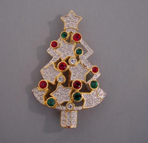 SWAROVSKI Christmas tree stars brooch Nordstrom's Exclusive 2002
