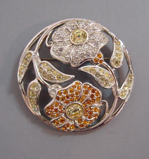 SWAROVSKI Harmony clear, yellow, topaz flowers brooch, 2001