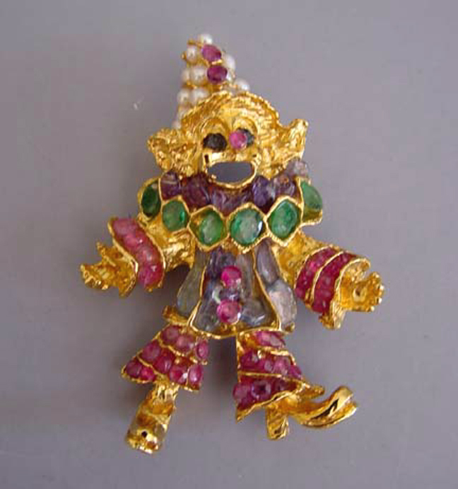 SWOBODA garnet, emerald and pearls clown pin