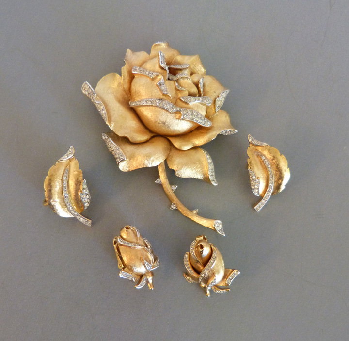 TRIFARI clear rhinestones, gold rose brooch, two sets earrings