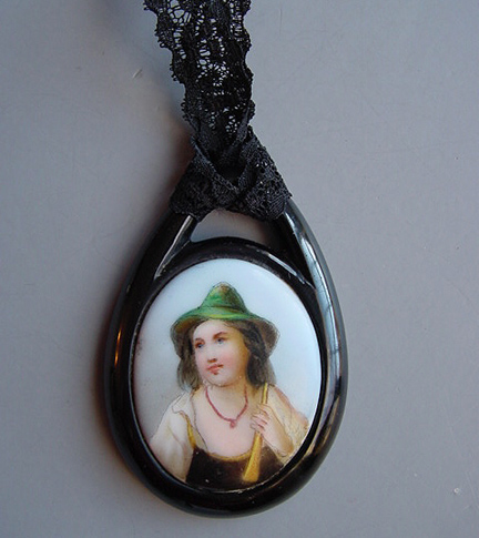 VICTORIAN jet pendant, hand painted porcelain Gypsy boy