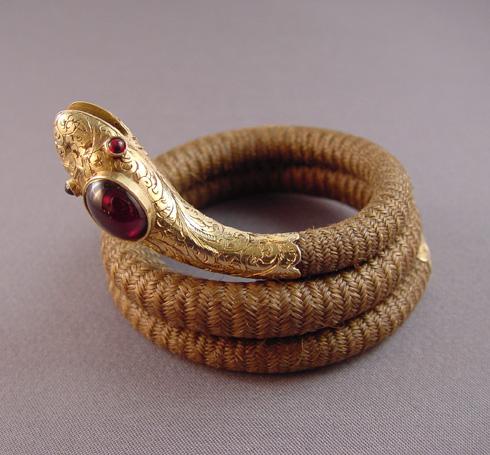 VICTORIAN antique snake bracelet 14 karat & garnet