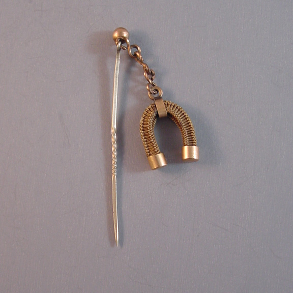 VICTORIAN hair jewelry stick pin with lucky horseshoe