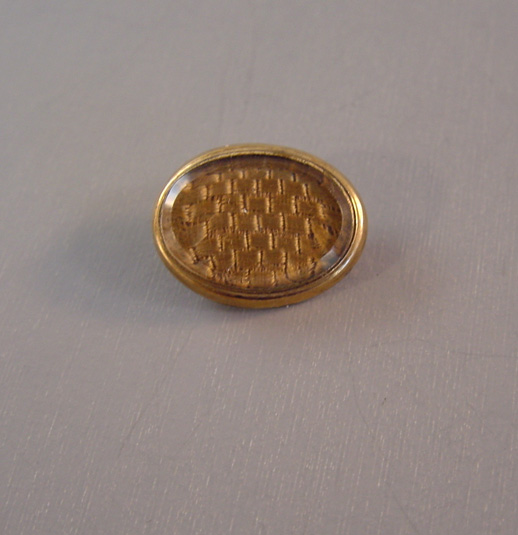 VICTORIAN hair memorial pin with blond woven hair