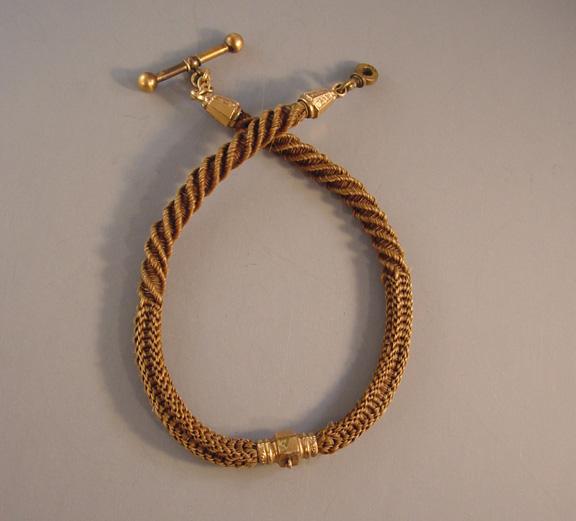 VICTORIAN woven hair watch chain with brown hair