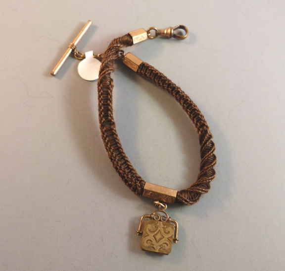 VICTORIAN woven hair watch chain and locket fob