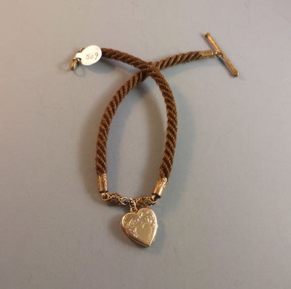 VICTORIAN woven hair watch chain with heart locket