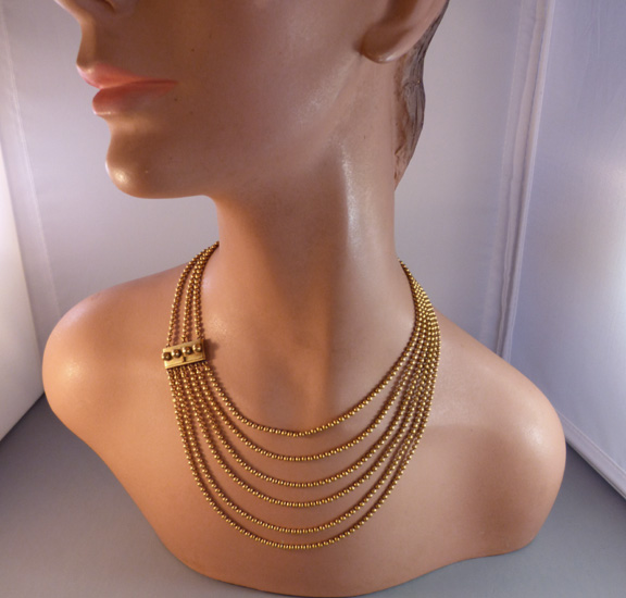 GRADUATED Victorian gold tone three strand beads necklace