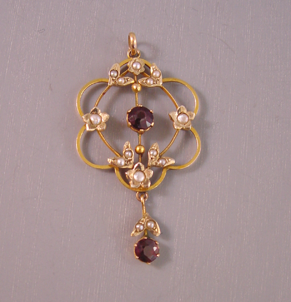 VICTORIAN 14k yellow gold and garnet doublettes lavaliere