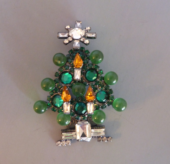 VRBA Christmas tree holiday brooch with green, clear & topaz