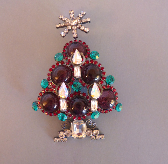 VRBA Christmas tree brooch with purple round cabochon
