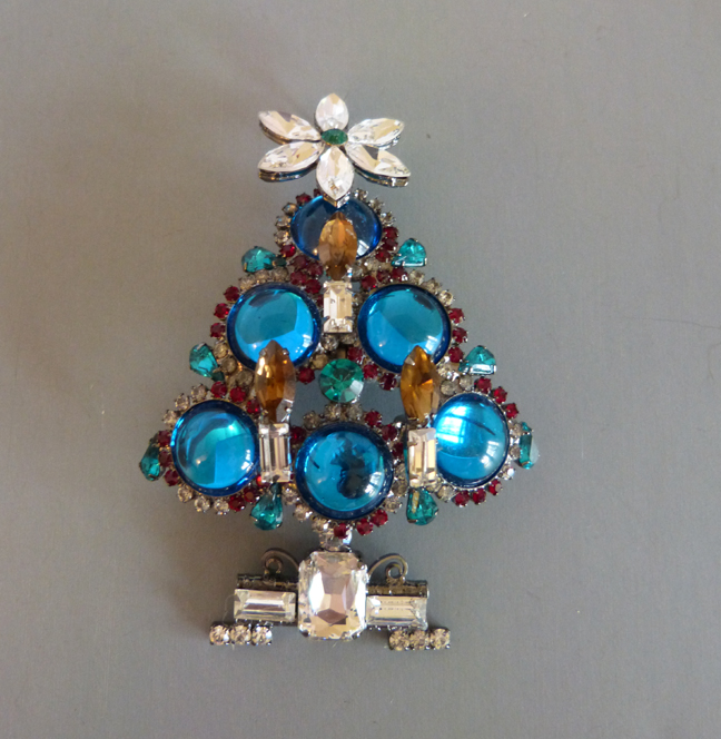 VRBA Christmas tree brooch with teal blue cabochons