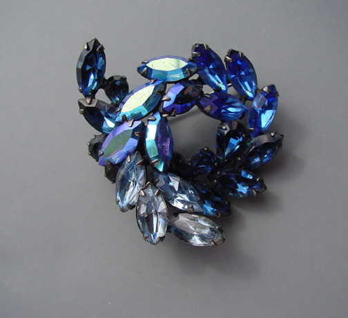 WEISS brooch with blue and blue aurora borealis