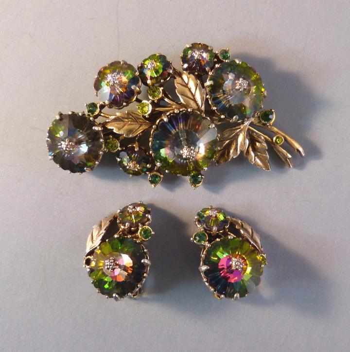 WEISS green, purple aurora borealis brooch earrings