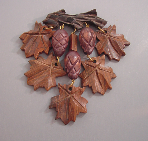 Wood Carved Leaves And Pinecones Dangles Brooch Morning