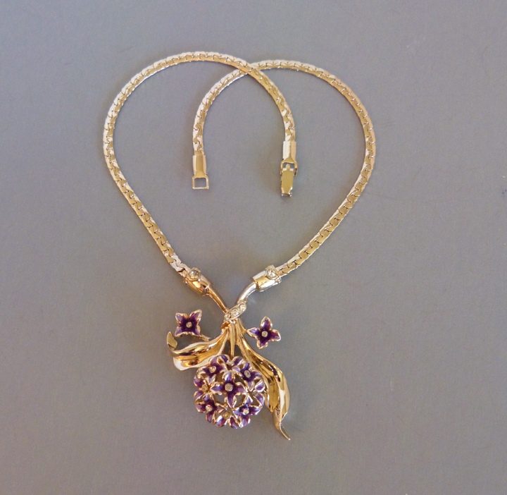 DEROSA unsigned violet flowers and leaves necklace