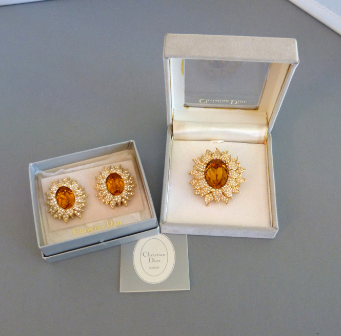 CHRISTIAN DIOR sunflower brooch and earrings in original boxes