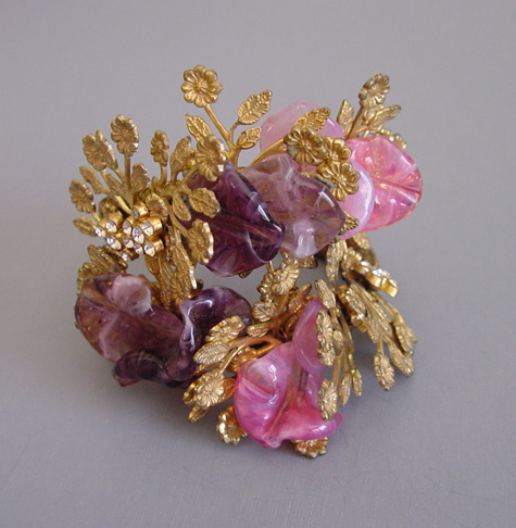 HASKELL Hess bracelet, a coil wrap with pink & purple glass petals