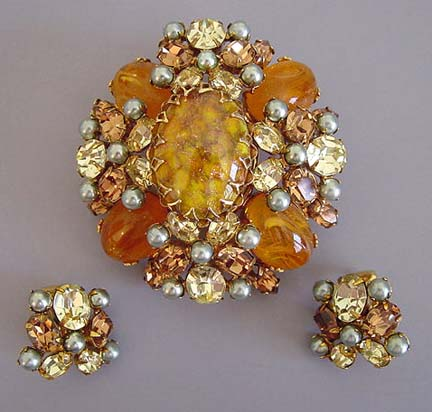 SCHREINER caramel marbled cabochons brooch & earrings