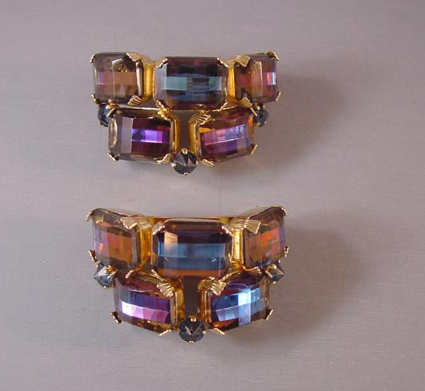SCHREINER brooch scarf holders, set of 2, purple and blue rhinestones