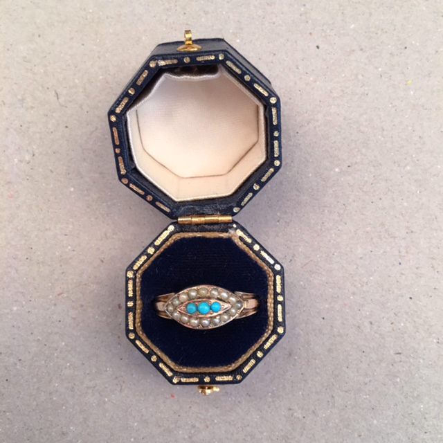 VICTORIAN 10k and Persian turquoise ring, eye shape with tiny pearls