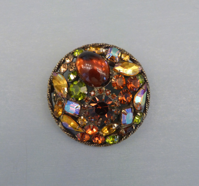 WEISS round rhinestone brooch with dramatic Fall colors