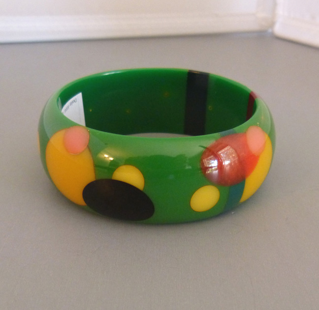 SHULTZ bakelite chunky green bangle with colorful dots
