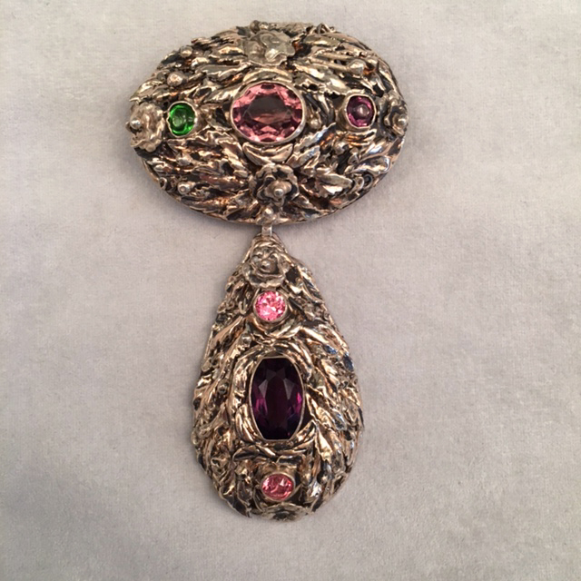 HOBE sterling two part brooch with purple, pink & green rhinestones