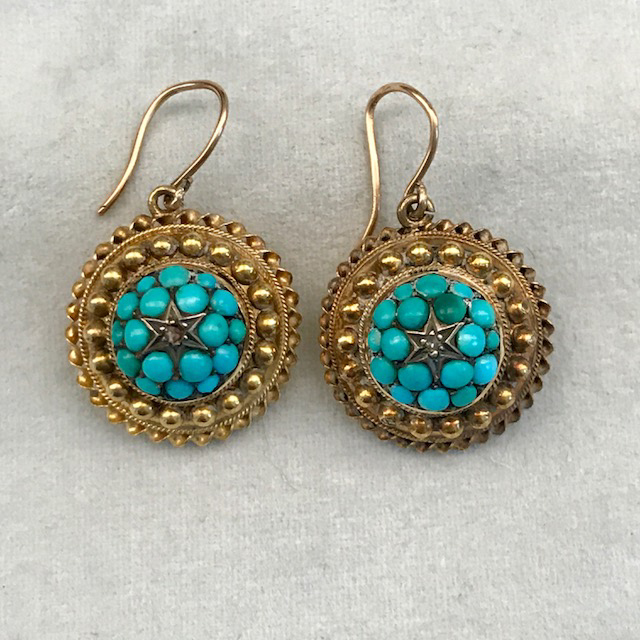 VICTORIAN 14k Etruscan Revival Persian turquoise and diamond earrings