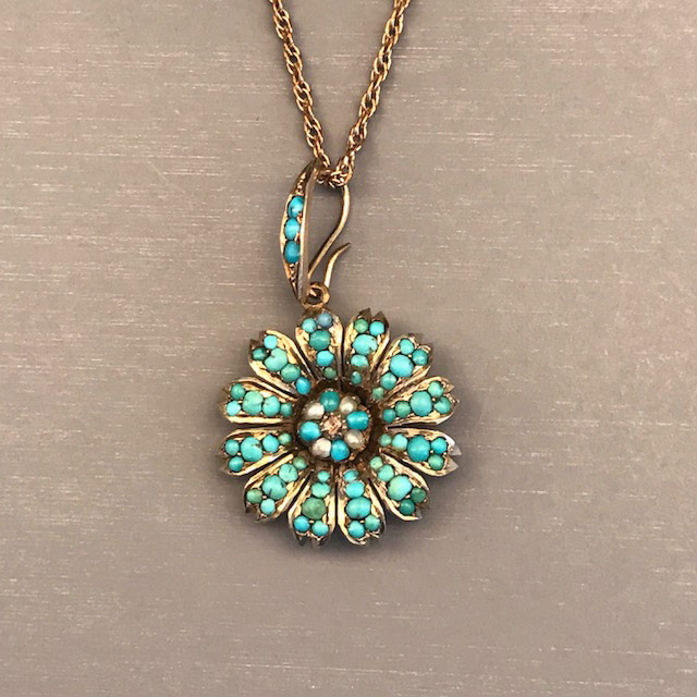 VICTORIAN turquoise pendant with a tiny diamond in the center