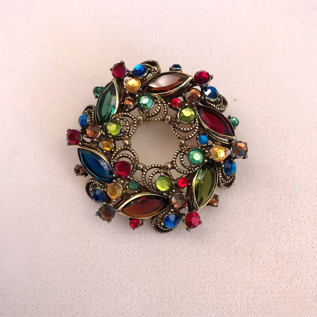 WEISS wreath brooch with red, blue, green and caramel