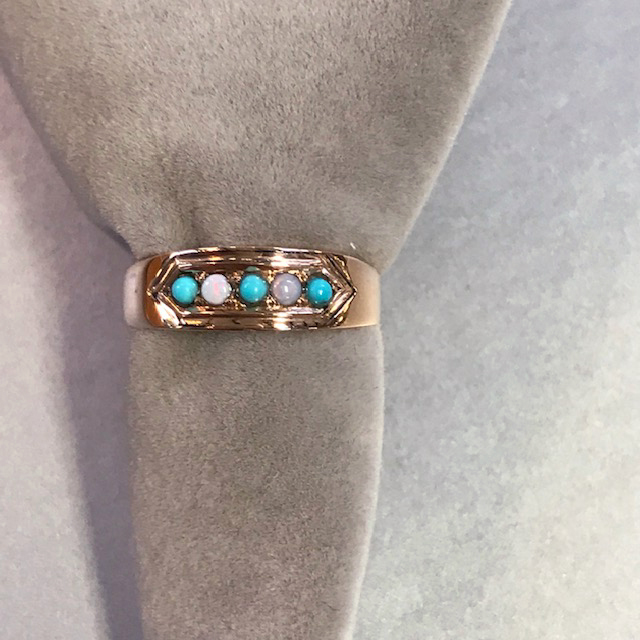 VICTORIAN 14k Persian turquoise ring with opals