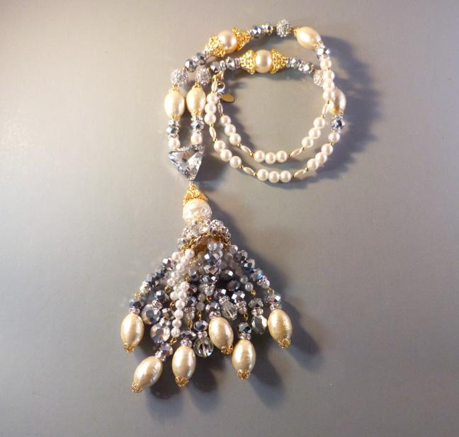LARRY VRBA tassel sautoir necklace in silver tone, glass pearls & clear rhinestones